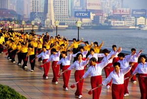 Morning exercise teams on Shanghai's Bund, along the Huangpu River waterfront. Photo by Dennis Cox/WorldViews